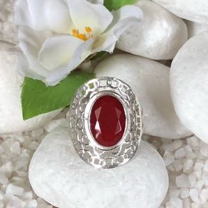 Jewelry - 🛍NATURAL RED RUBY SILVER PLATED RING✨✨